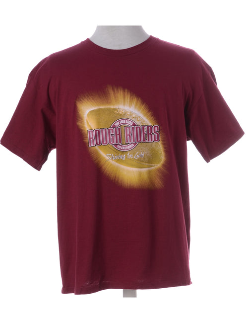 Printed T-shirt Plum With A Round Neck