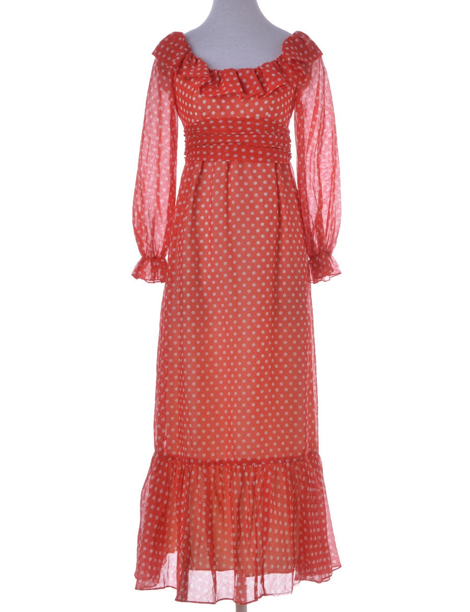Vintage Day Dress Red With A Frilled Neck