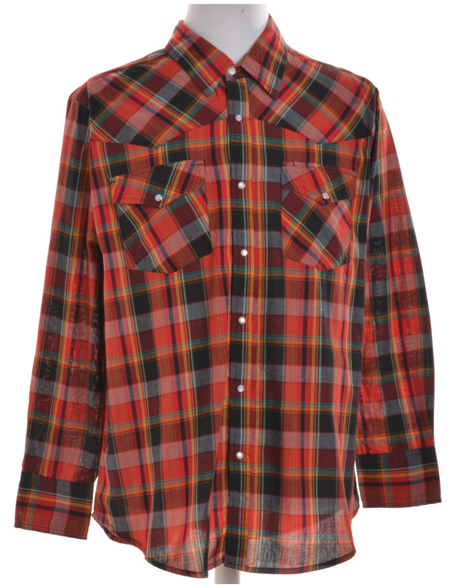 Checked Shirt Red With Multiple Pockets