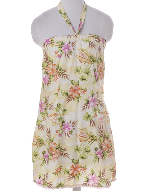 Vintage Summer Dress Pale Yellow With A Drawstring Neck