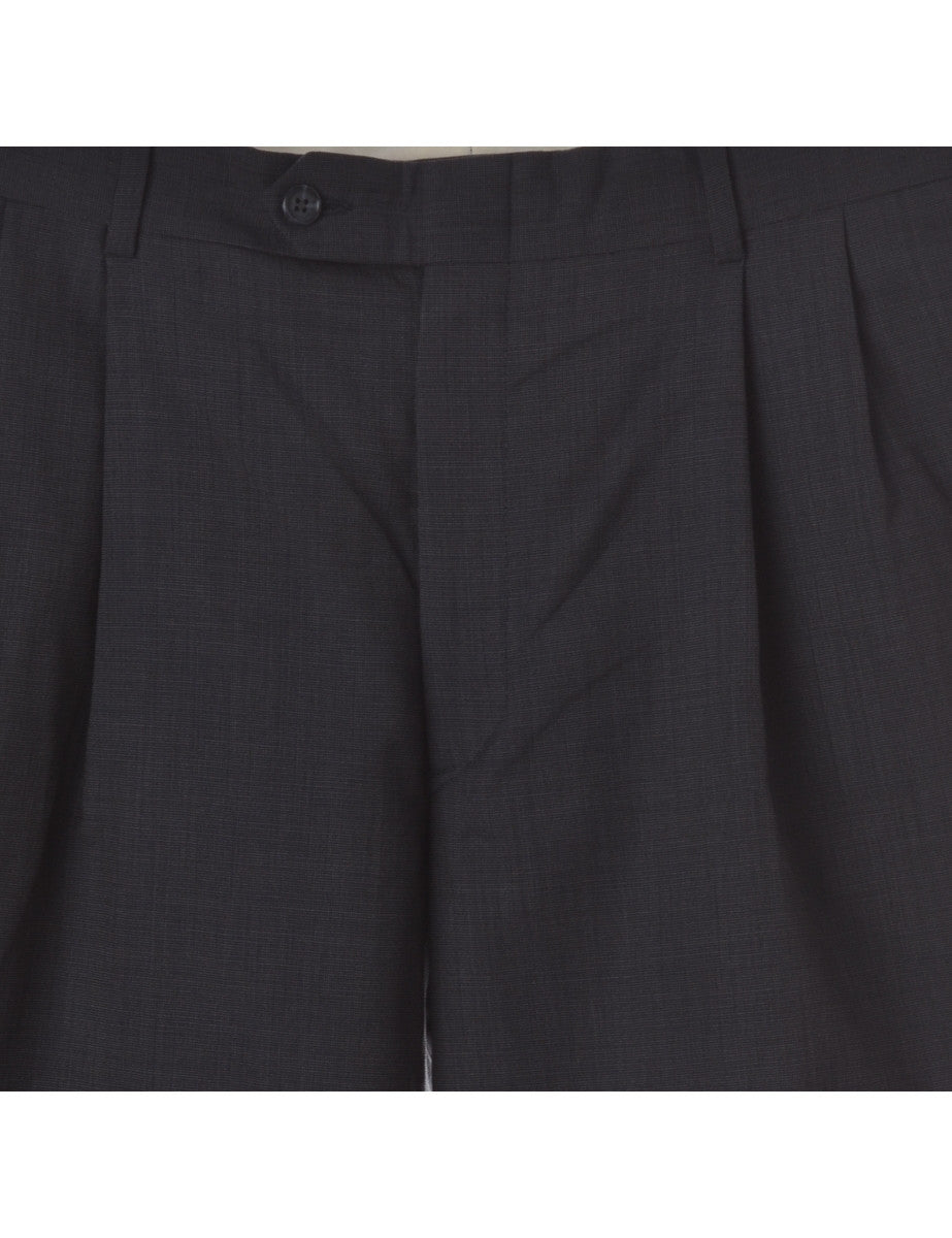 Beyond Retro Label Turn Up Trouser Black With Pockets