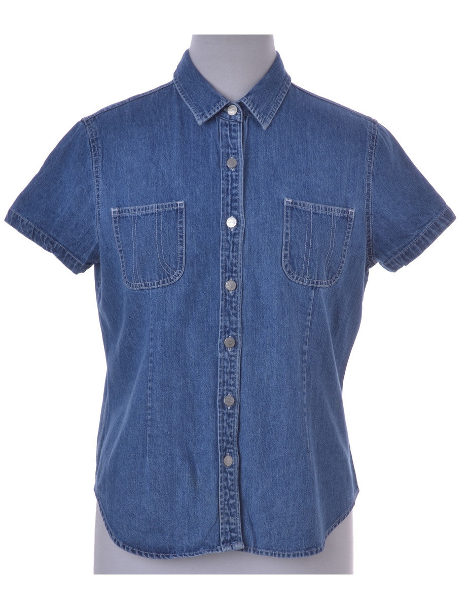 Denim Shirt Washed Indigo With Two Pockets