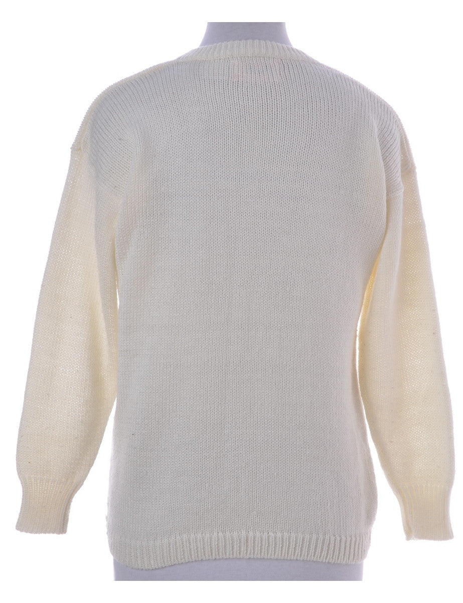Jumper Cream With A V-neck