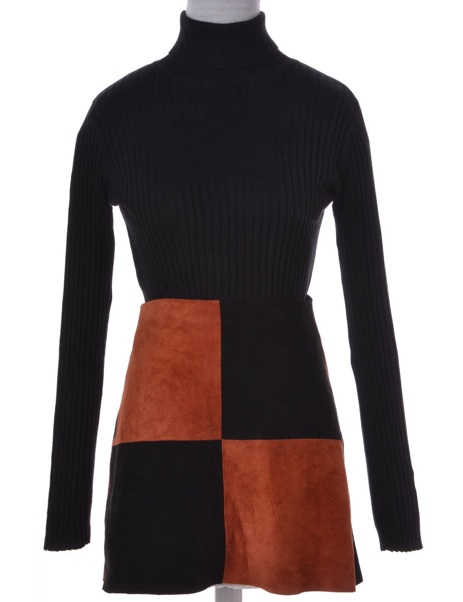 Label Suede Colour Block Skirt