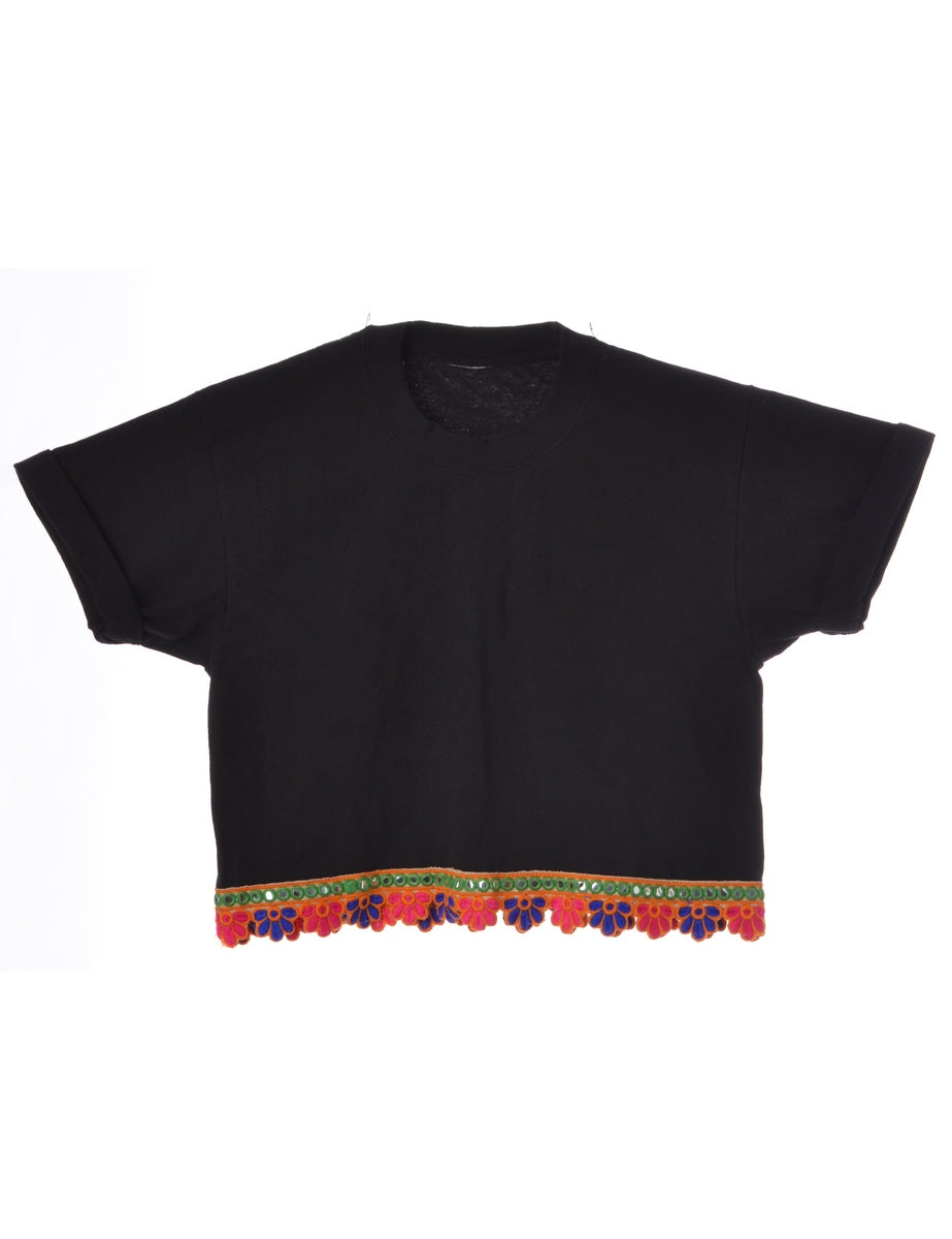 Label Indian Trim Crop Top