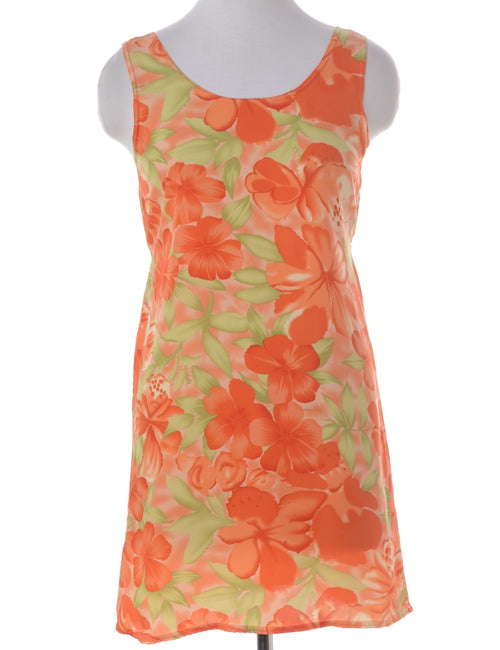 Summer Dress Orange With A Round Neck
