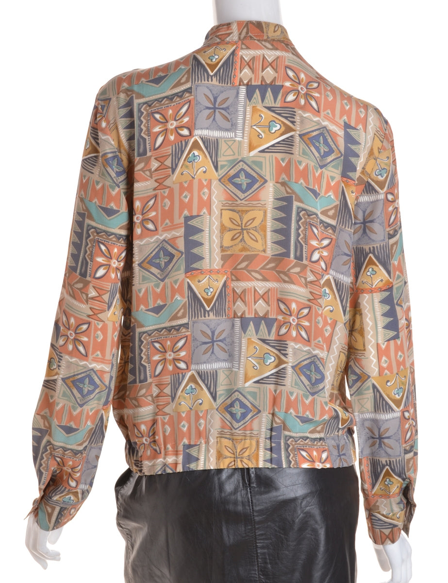 Beyond Retro Label Blouse Bomber Multi-colour With A Stand Collar