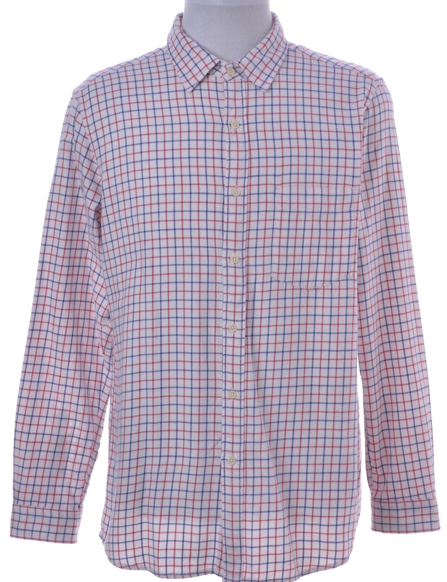 Checked Shirt White With One Pocket
