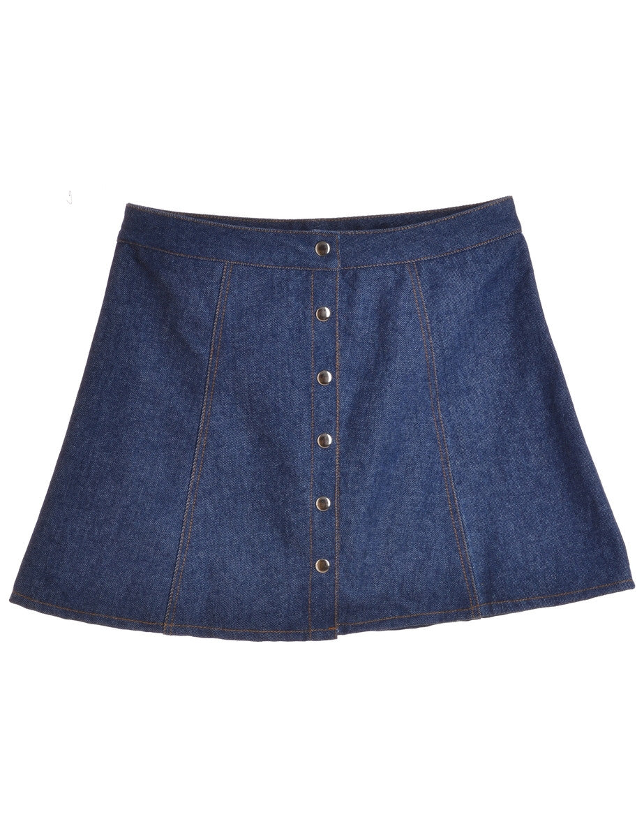 Beyond Retro Label Denim Popper Skirt Indigo