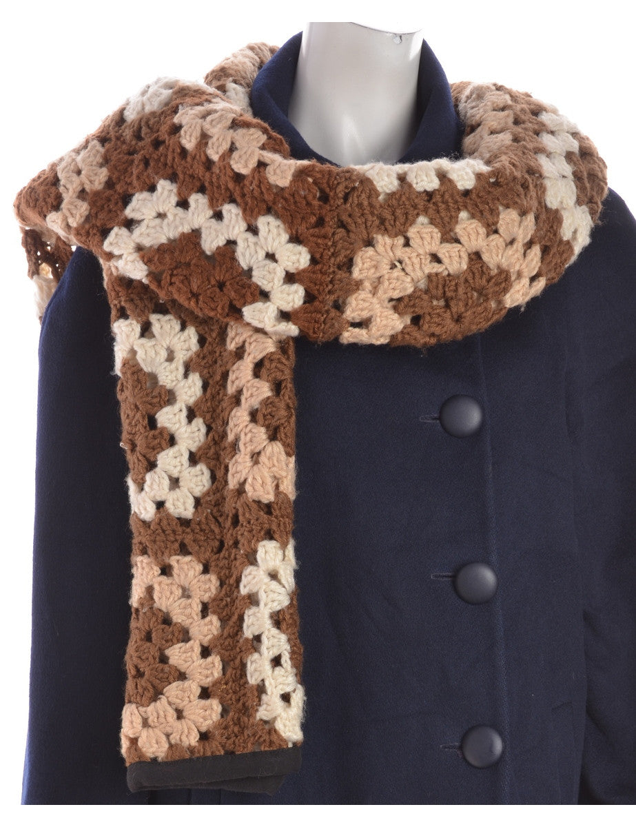 Beyond Retro Label Crochet Blanket Scarf Brown With A Black Border