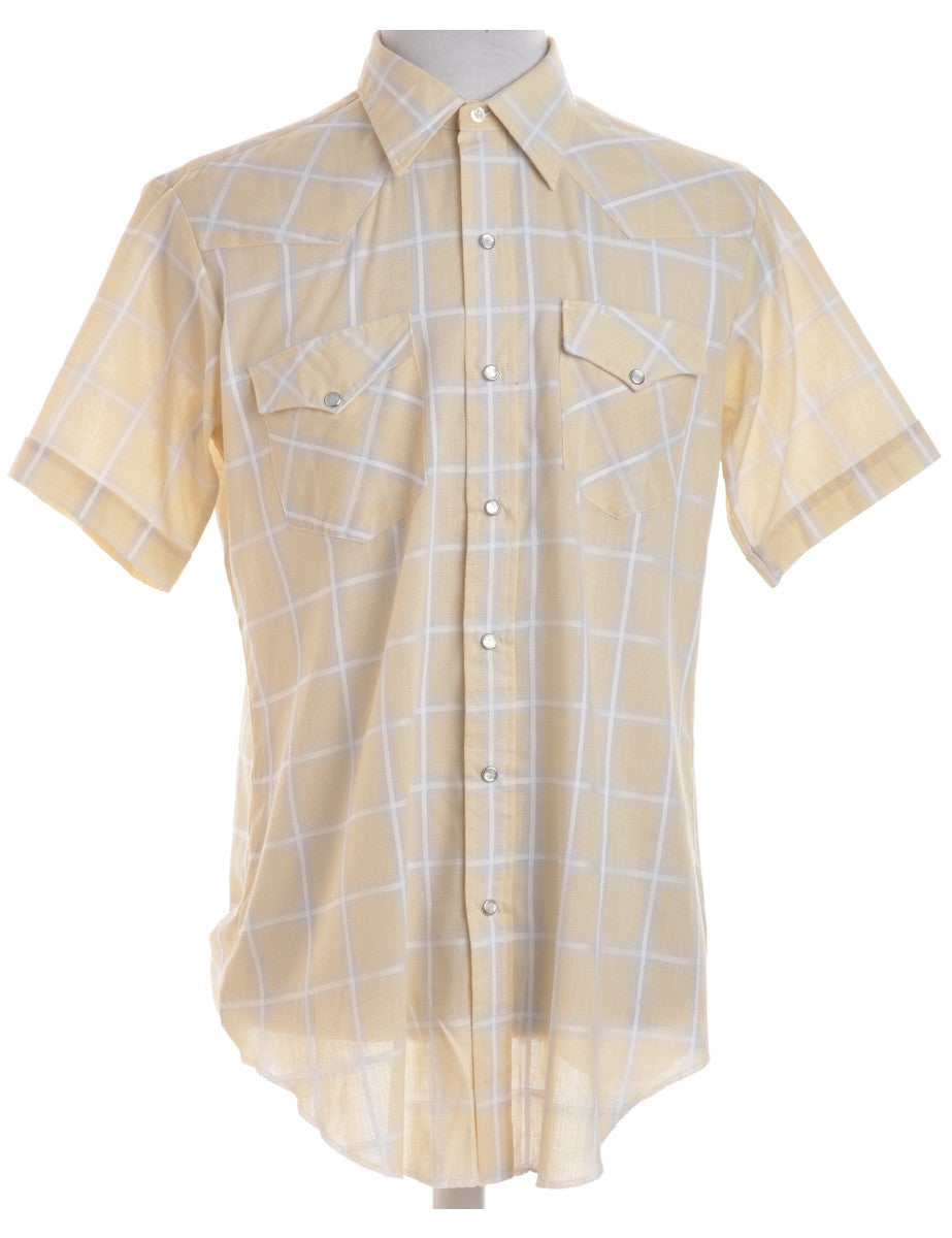 Checked Shirt Pale Yellow With Two Pockets