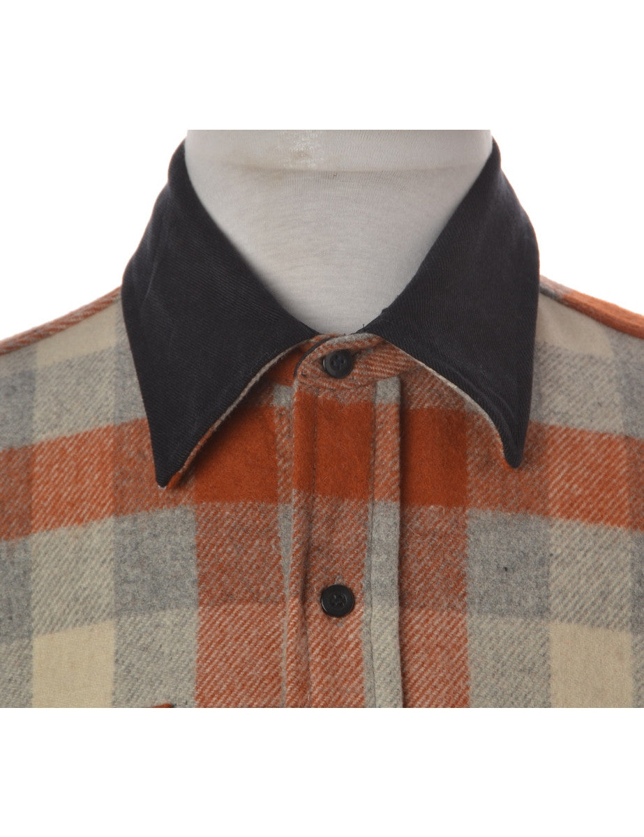 Beyond Retro Label Shirt With Denim Collar Multi-colour With Chest Pockets