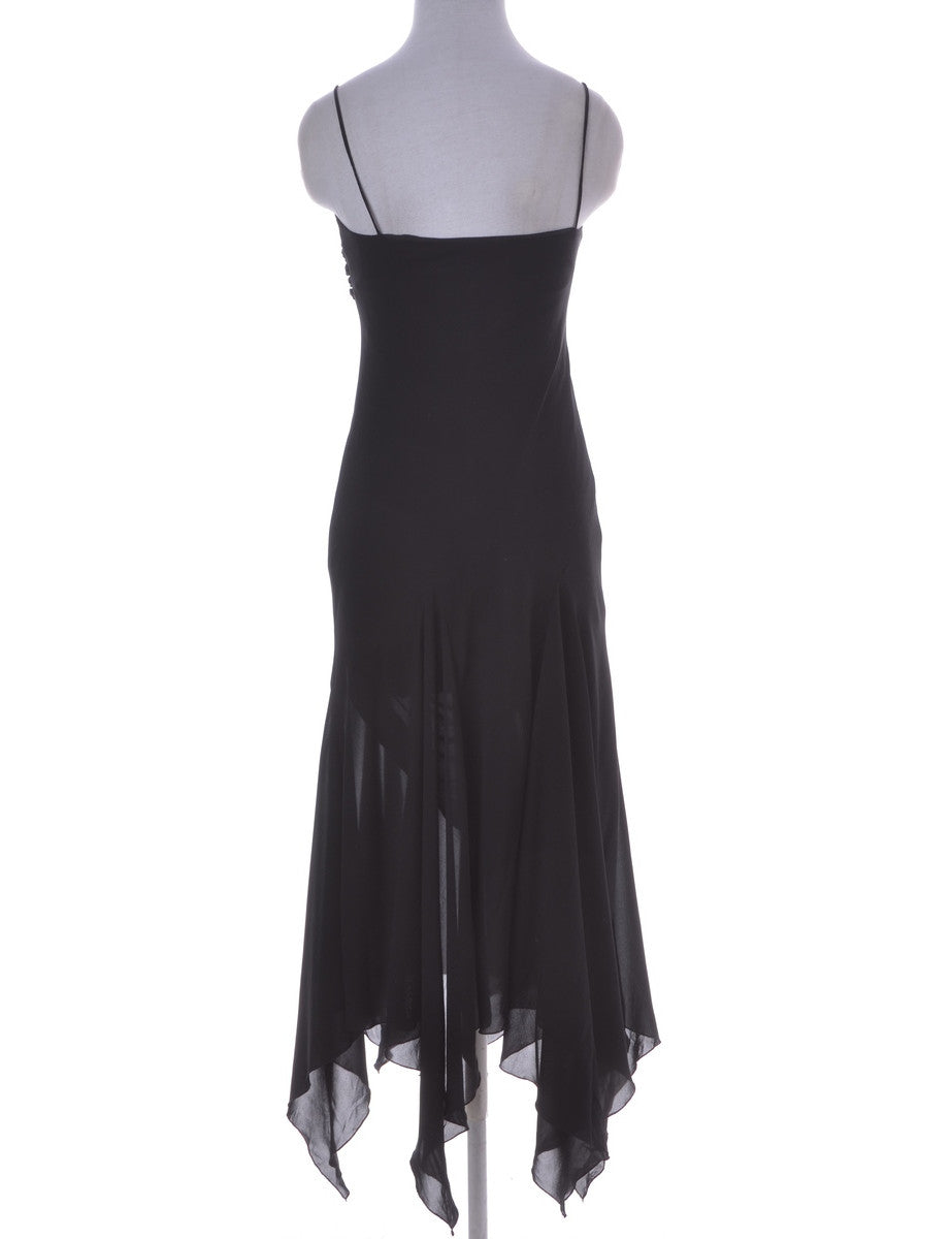 Party Dress Black With An Asymetric Hem