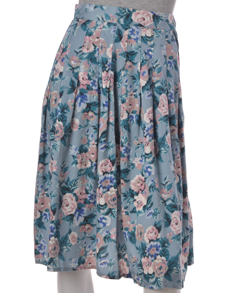 Midi Skirt Light Blue With Pleat Detail