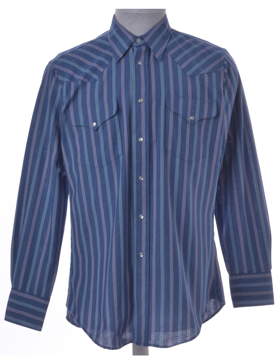 Western Shirt Blue With Flap Pockets