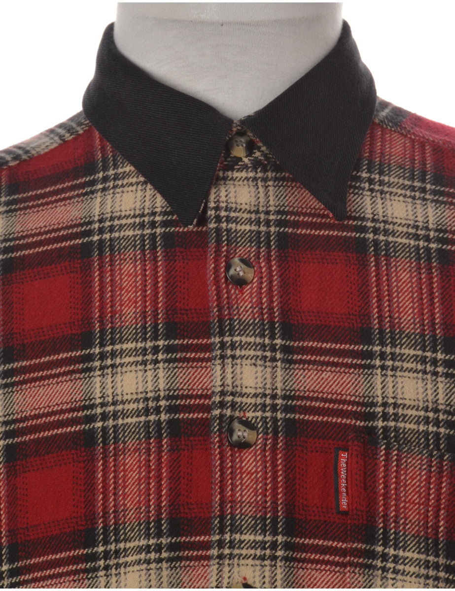 Beyond Retro Label Shirt With Denim Collar Burgundy With A Chest Pocket