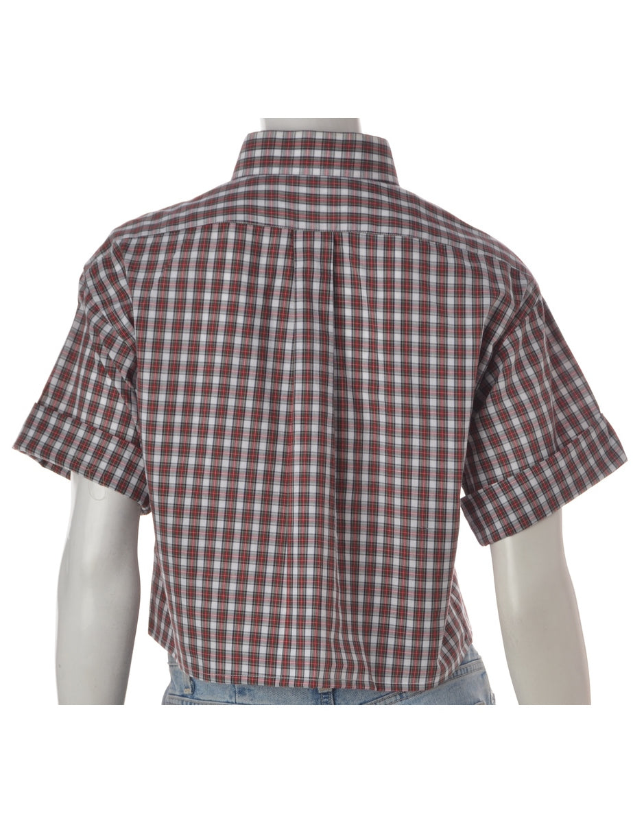 Label Boxy Cotton Cropped Checked Shirt