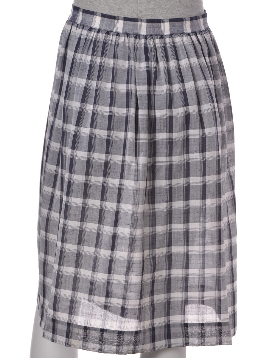 Midi Skirt Navy With Ruched Detailing