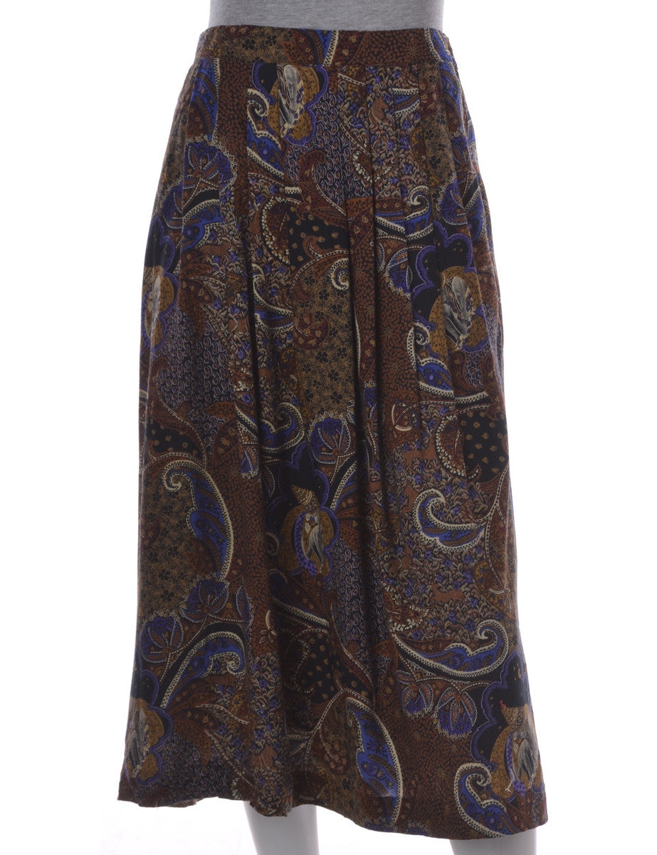 Midi Skirt Brown With An Elasticized Back