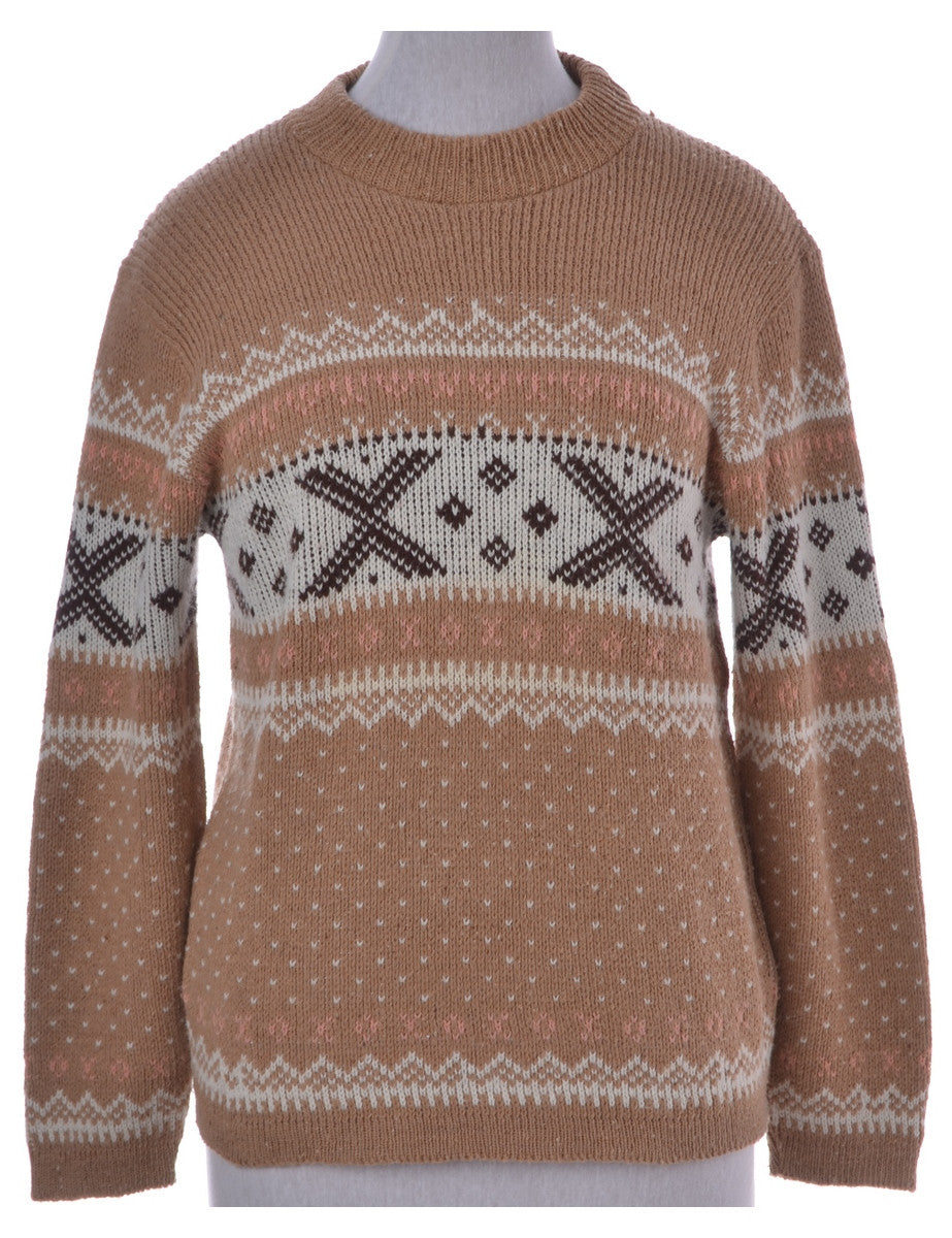 Jumper Brown With A Round Neck
