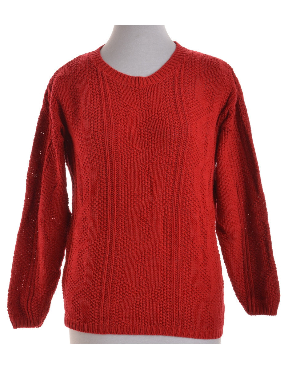 Jumper Red With A Round Neck