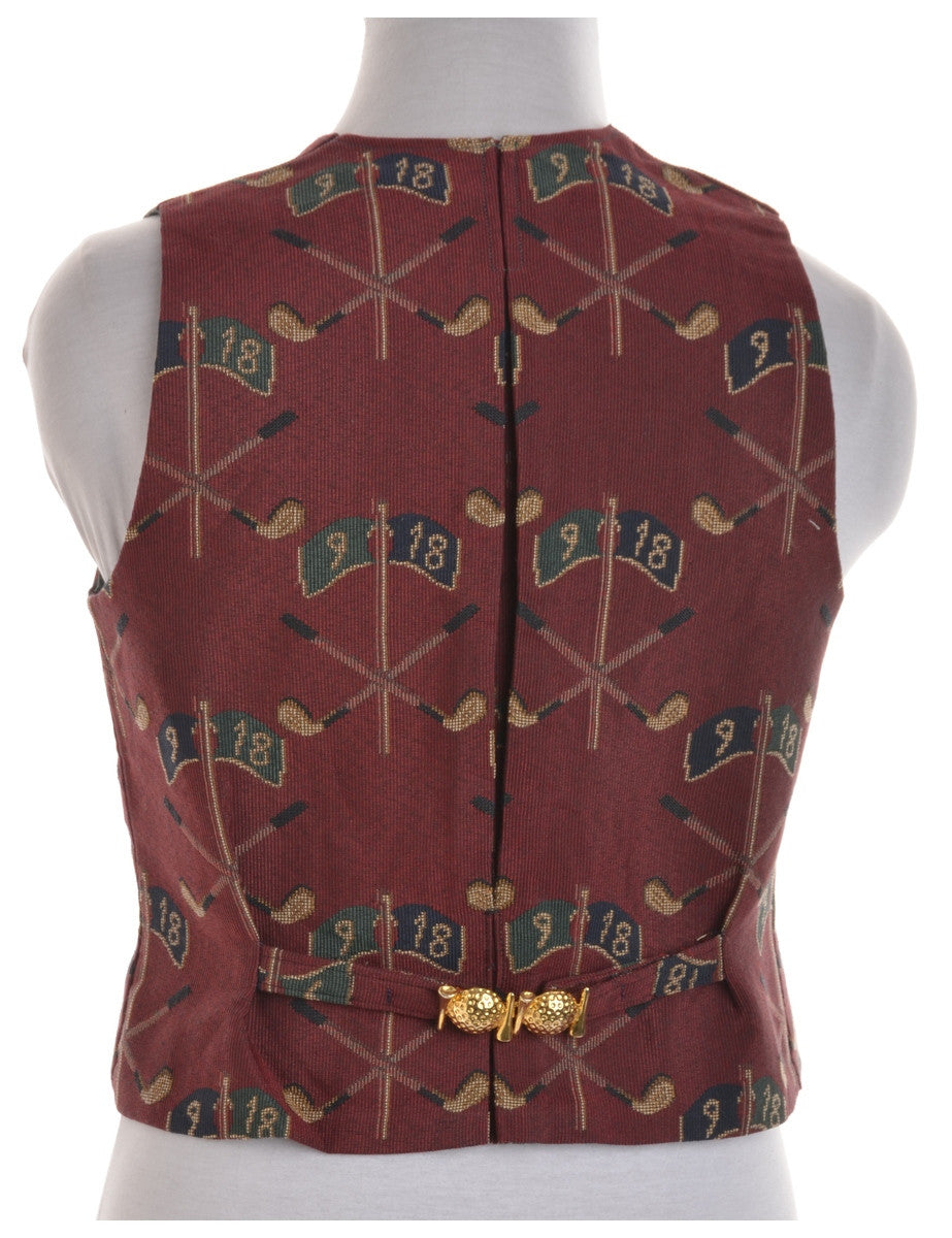 Waistcoat Burgundy With A Belted Back