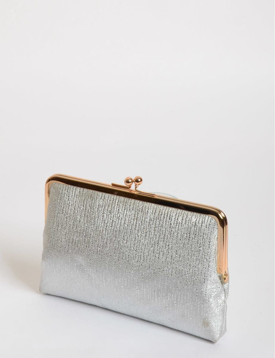 Vintage Clutch Silver With Satin Lining