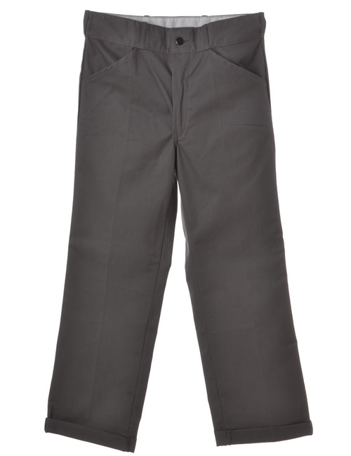 Beyond Retro Label Twill Trouser Grey With A Rolled Hem