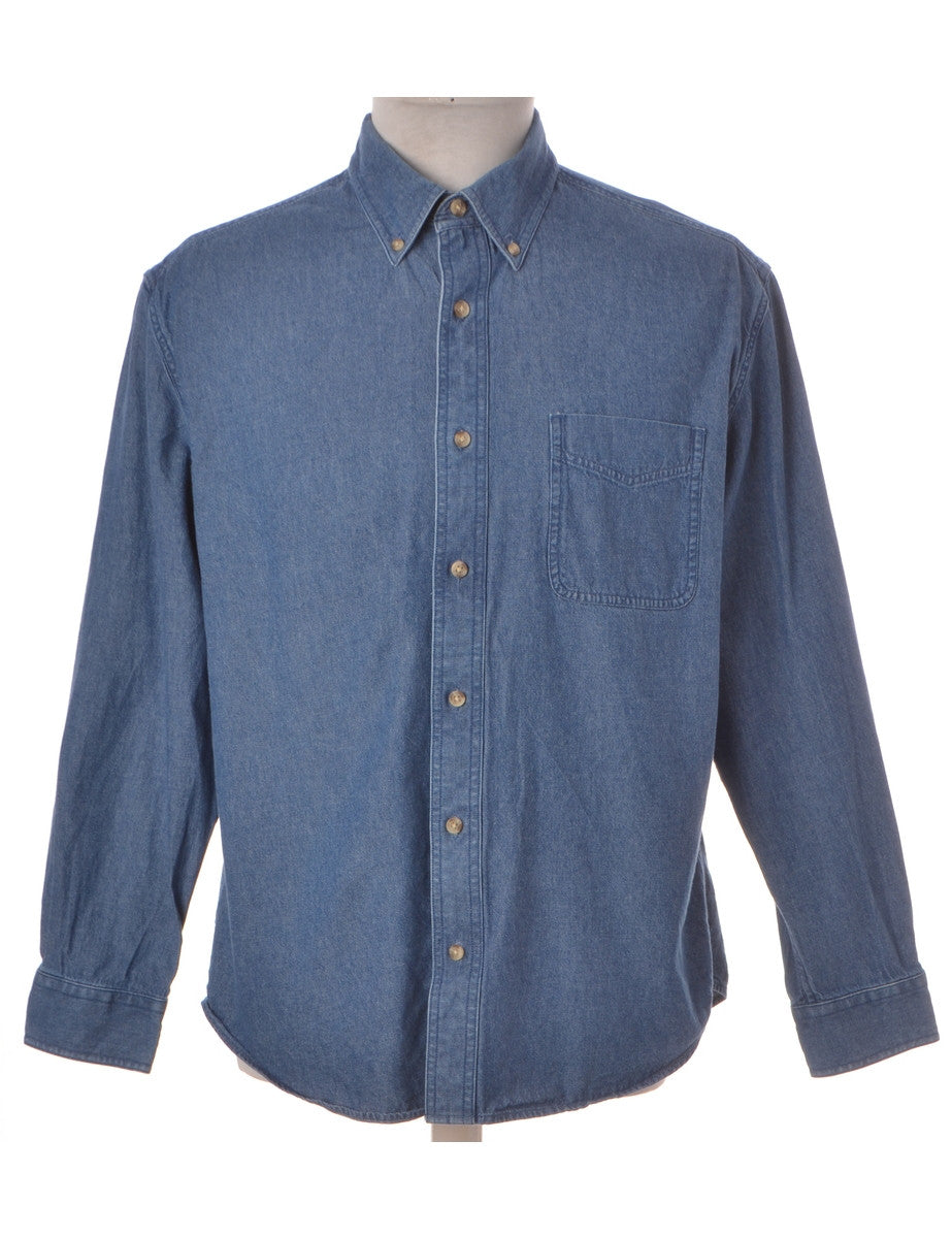 Vintage Denim Shirt Stone Wash With A Button Down Collar