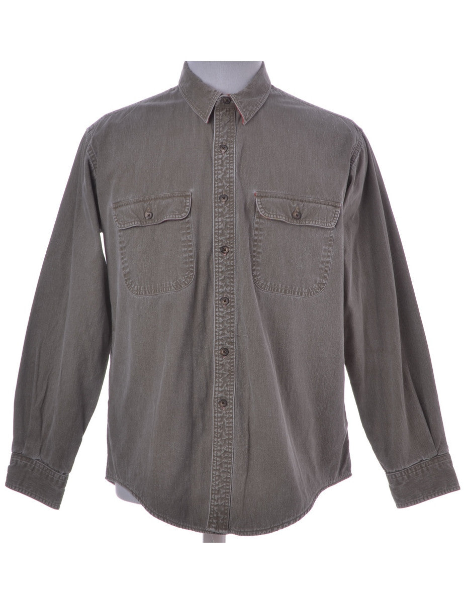 Denim Shirt Beige With Buttoned Pockets