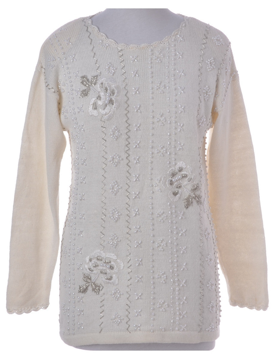 Jumper White With Embroidery