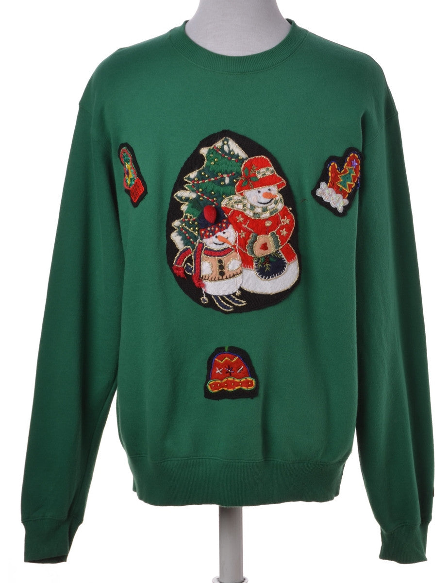 Label Green Applique Christmas Sweatshirt