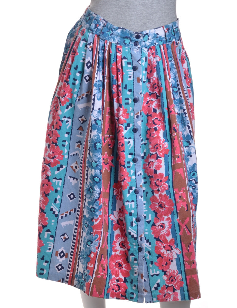 Midi Skirt Blue With An Elasticized Back