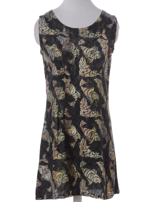 Vintage Summer Dress Olive Green With A Round Neck