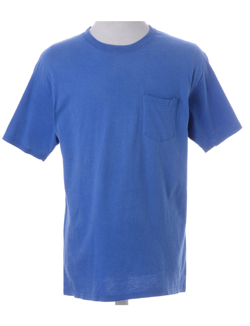 Plain T-shirt Blue With A Round Neck