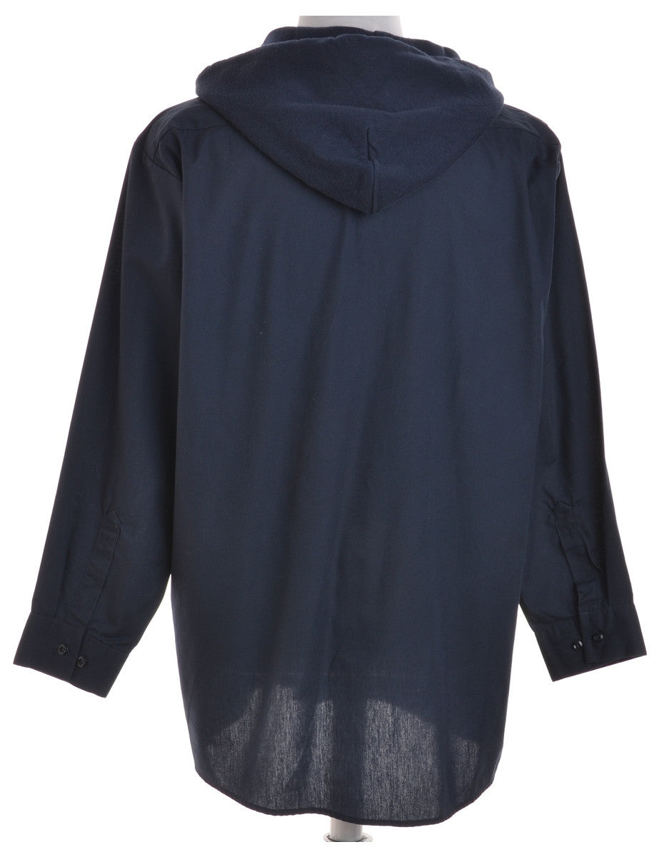Beyond Retro Label Hooded Shirt Navy With Chest Pockets