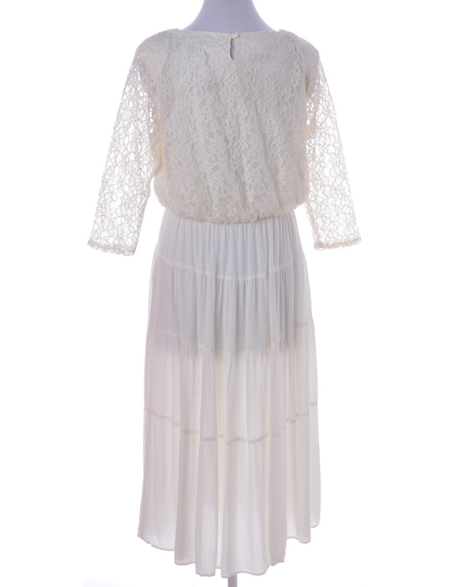 Day Dress Off White With Removable Shoulder Pads
