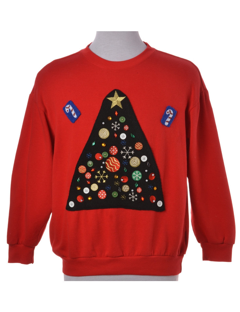 Label Red Applique Christmas Sweatshirt