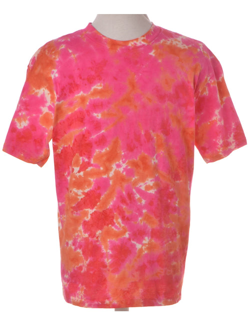 Vintage Printed T-shirt Pink With A Round Neck