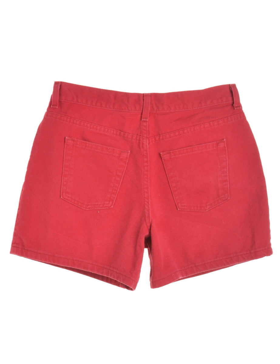 Denim Shorts Red With Multiple Pockets