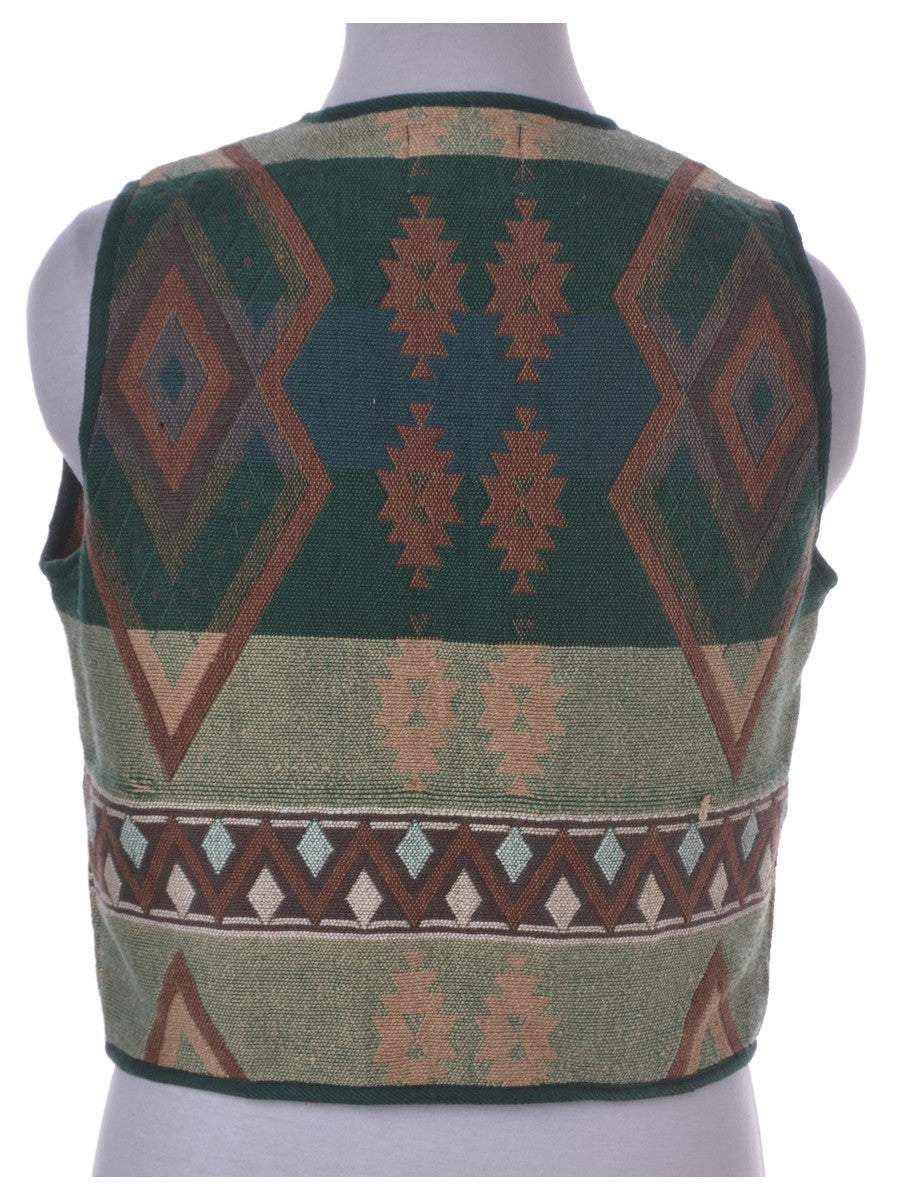 Waistcoat Green With Decorative Buttons