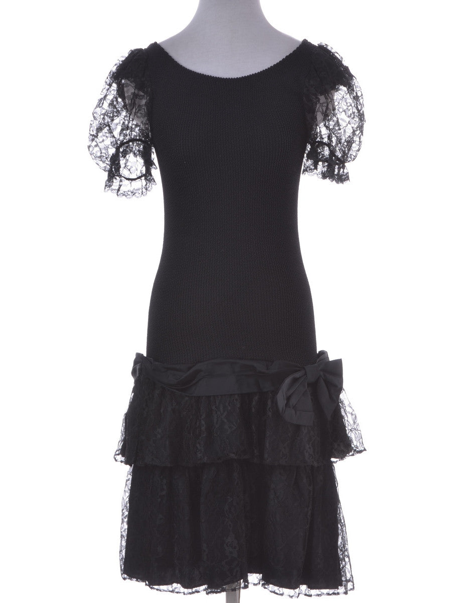 Party Dress Black With A Bow Detail