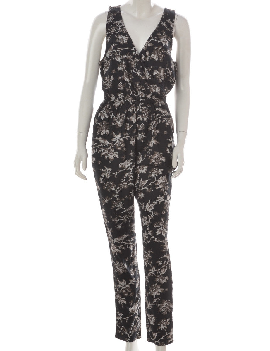 Label Floral Sleeveless Jumpsuit