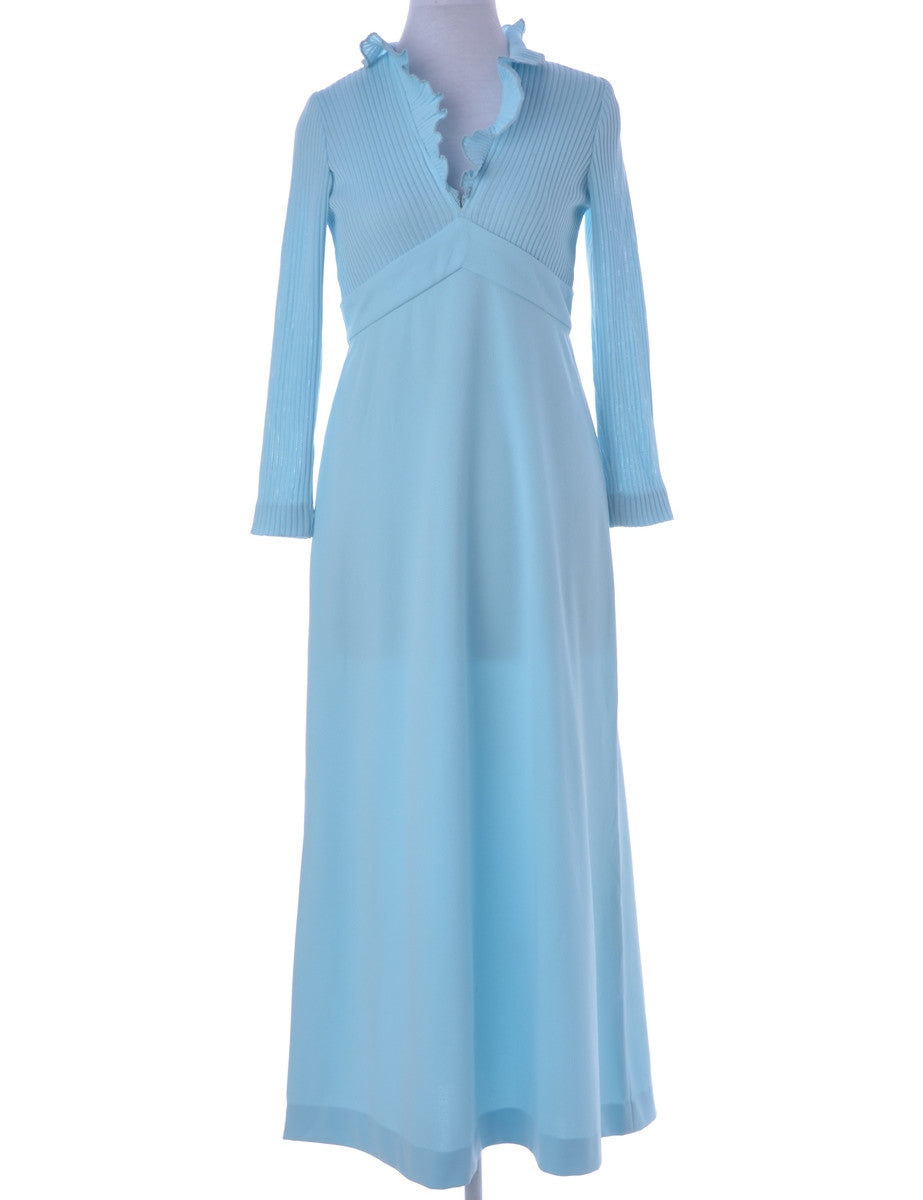 Vintage Day Dress Light Blue With Back Tie