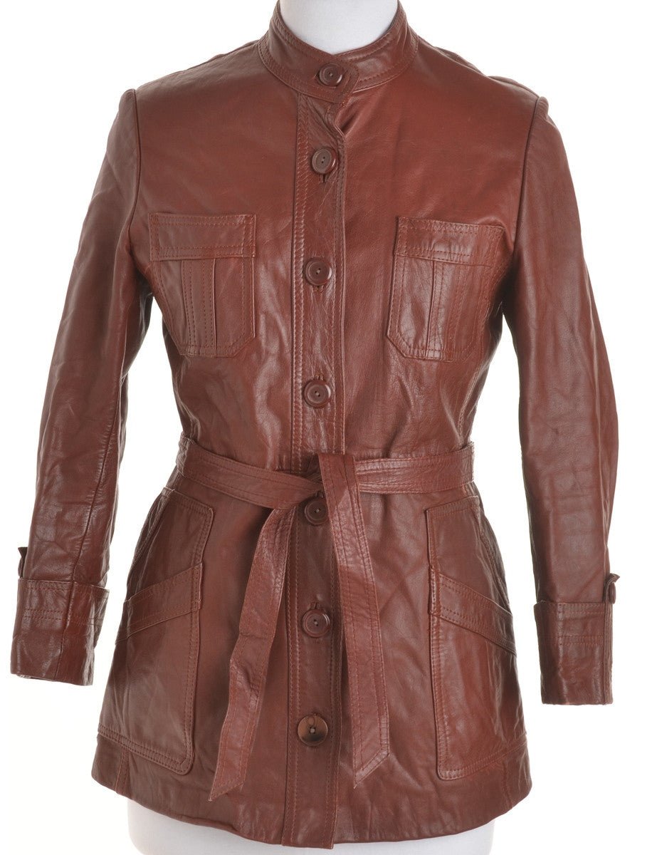 Leather Jacket Brown With Pockets