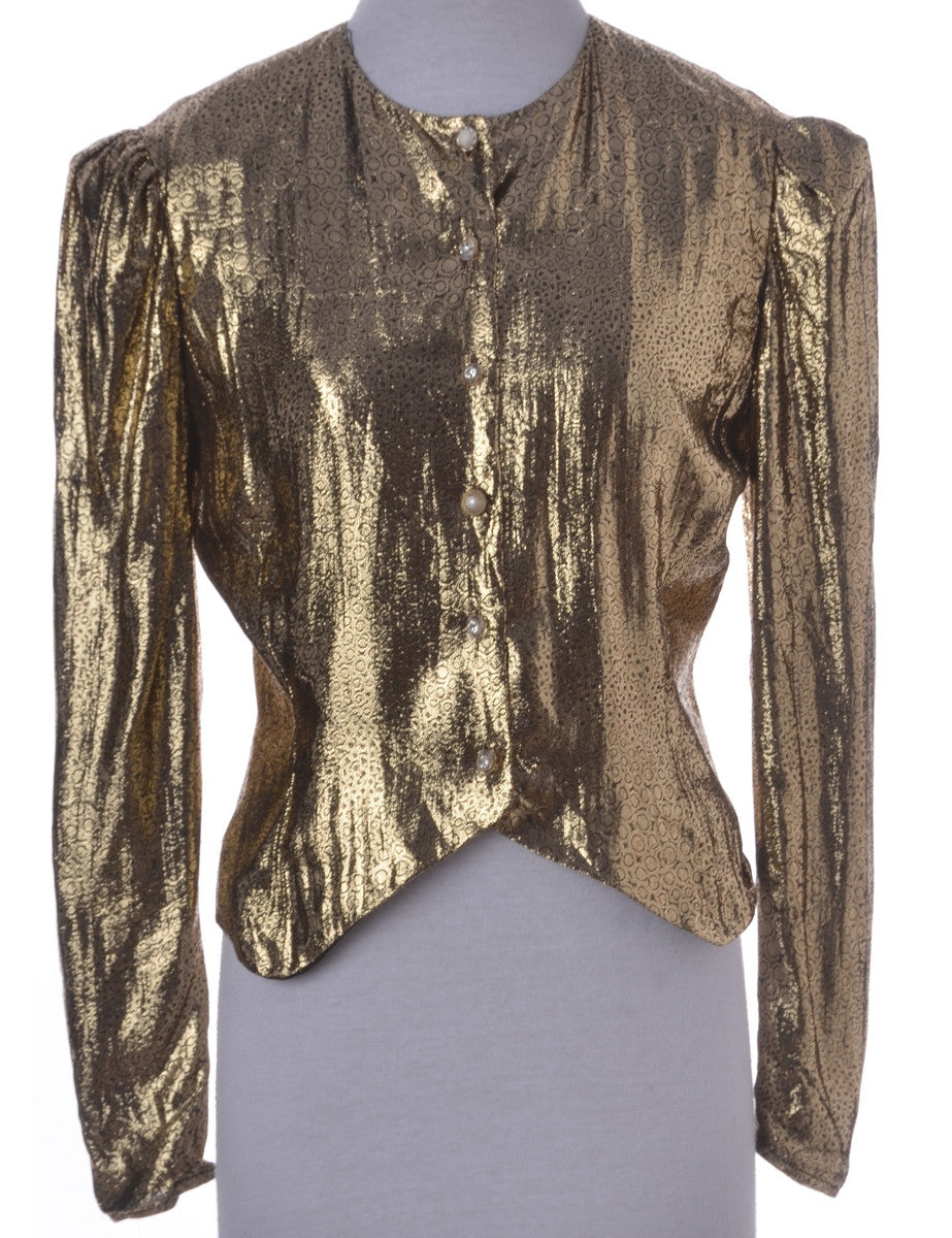 Party Top Gold With Decorative Buttons