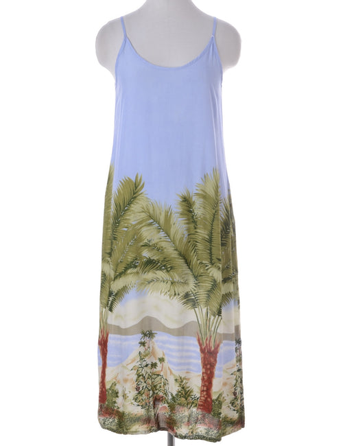 Vintage Summer Dress Light Blue With A Round Neck