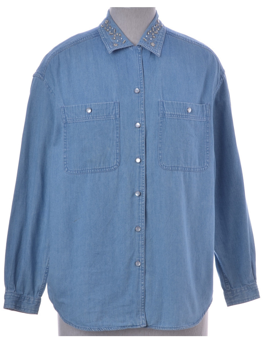 Denim Shirt Stone Wash With Buttoned Pockets