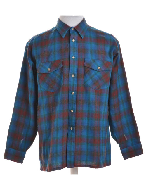 Checked Shirt Turquoise With Flap Pockets