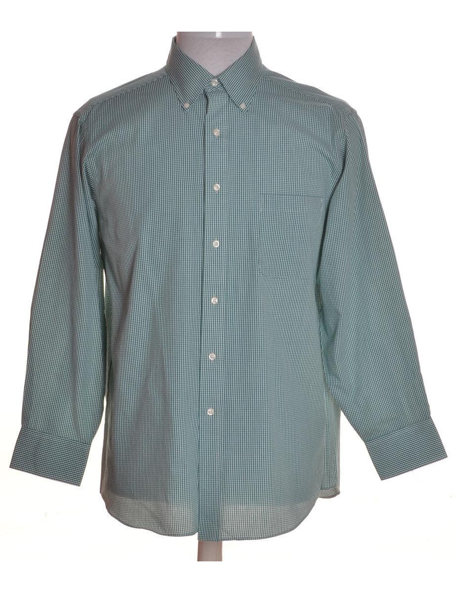 Checked Shirt Green With A Button Down Collar